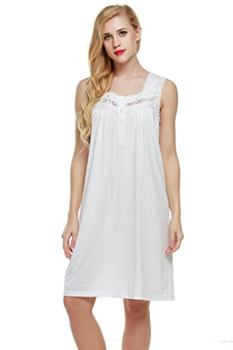 Ekouaer Nightgown Womens Comfort Cotton Sleeveless Sleepwear Sleepshirts XS-XXL