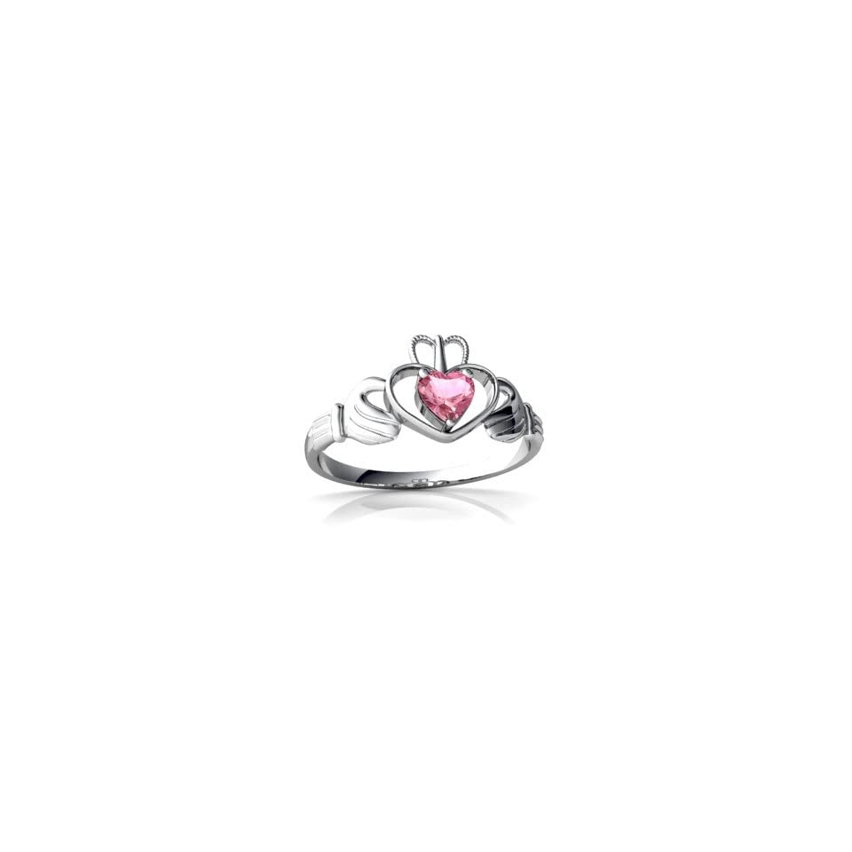 14K White Gold Heart Created Pink Sapphire Celtic Claddagh Ring Size 5