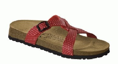 Cheap Birkis slippers Sylt in size 36.0 N EU made of Birko-Flor in Cherry Mini Points White with a narrow insole (B005119FSQ)