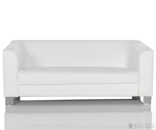 Sofa Carlo 185x75 cm Weiss verchromtes Metall 3-Sitzer