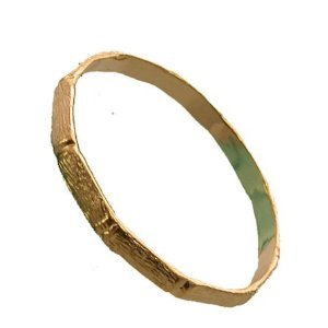 18K Gold Layered Thick Bamboo Women's Large Bangle Bracelet (Size 7)