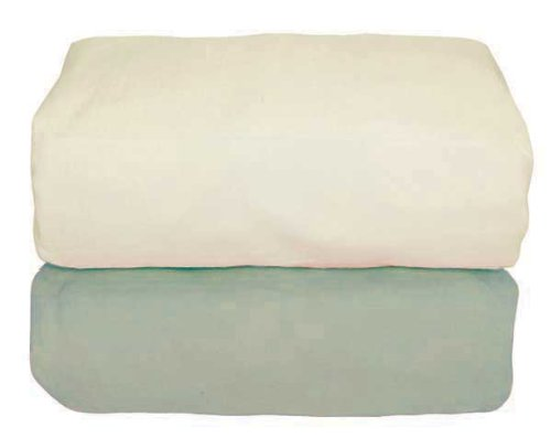 Tadpoles Organic Flannel Fitted Crib Sheets - Set Of 2, Sage And Natural