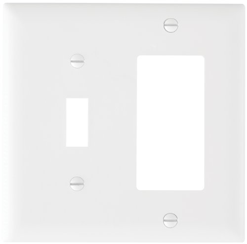 Pass & Seymour TP126WCC12 Trade Master Nylon Combination Openings Wall Plate with One Toggle Switch and One Decorator Opening, Two Gang, White