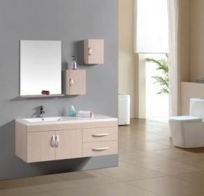 Mobile bagno acero completo di lavabo specchio pensili l.130