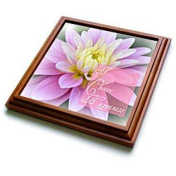 I Choose Happiness Dahlia Flower Floral Photography - 8x8 Trivet With 6x6 Ceramic Tile