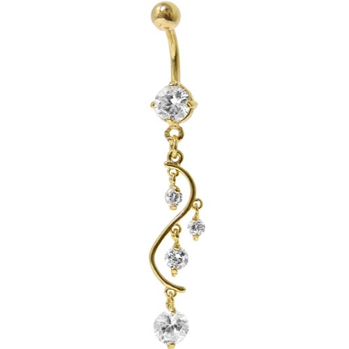 Crystalline 24kt Gold Plated Cubic Zirconia Vine Drop Belly Ring