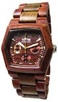 Tense Mens Triple Dial Hexagon Wood Watch Two Toned Sandalwood/Green G8303SG B (Brown Face)
