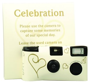 10 IVORY AND GOLD WEDDING PARTY DISPOSABLE CAMERAS