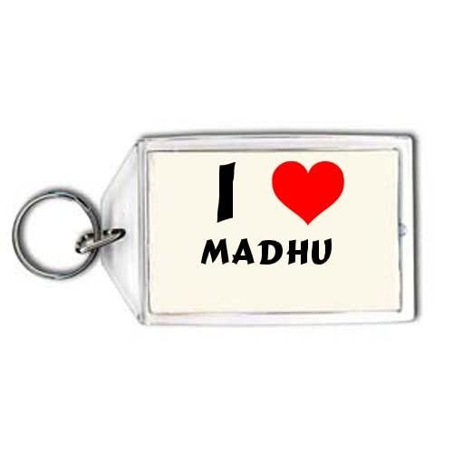 Amazon.com: I love Madhu personalized keychain (first name/surname