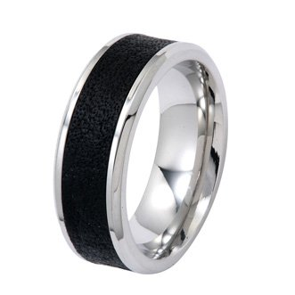 8MM Stainless Steel Wedding Ring For Men With Black Plated Textured Center and High Polished Edges