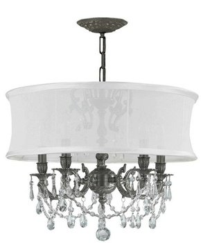 Crystorama Lighting 5535-PW-SMW-CLM 5 Light Brentwood Chandelier