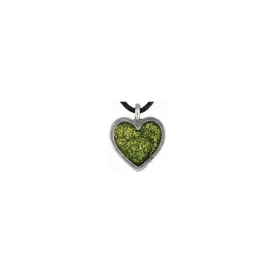 Love Light Amulet Green Glass Heart Charm Pendant Necklace Wicca Wiccan Pagan Metaphysical Spiritual Religious Womens Mens Jewelry (HEART COLOR MAY VARY FROM THAT PICTURED AND WILL BE CHOSEN BASED ON AVAILABILITY)