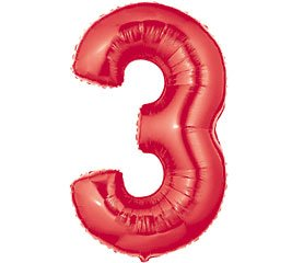Number 3 Metallic Red 40in Balloon (Number Three Balloon compare prices)