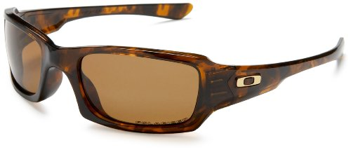 Oakley Men's Fives Squared Polarized Sunglasses,Brown Tortoise Frame/Bronze Lens,one size