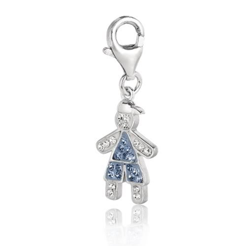 Sterling Silver Enamel & Crystal December birthstone clip-on boy charm