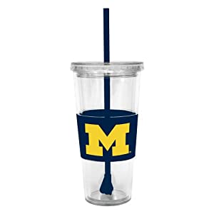 Buy NCAA Michigan Wolverines 22 Ounce Insulated Tumbler with Rubber Sleeve and Stir Straw by Boelter Brands