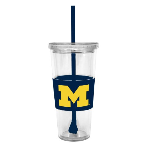 Ncaa Michigan Wolverines 22 Ounce Insulated Tumbler With Rubber Sleeve And Stir Straw front-516385