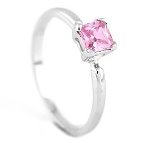 Silver Princess Cut October Pink Topaz Birthstone Child Ring Size 6