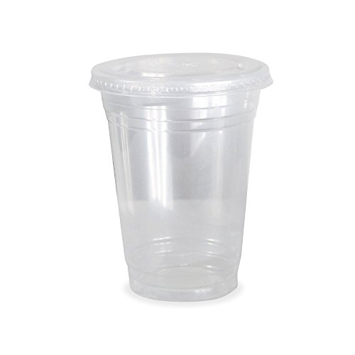 Dart Solo Clear Plastic Disposable Cups for Iced Coffee Bubble Boba Tea Smoothie, 16 oz, 50 Sets with Flat Lids (Amazon Pantry Service compare prices)