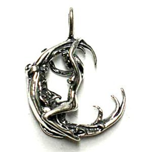 Sterling Silver Woman Facing Moon Pendant Wiccan Wicca Pagan Spiritual Religious Women's Men's Jewelry