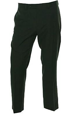 Calvin Klein CK Mens Solid Black Dress Pants Flat Front Trousers Hemmed