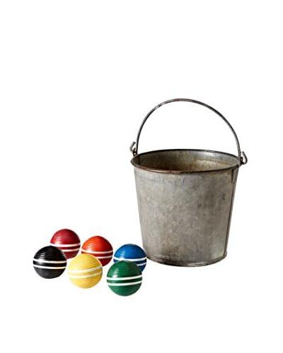 Mili Designs Bucket with 6 Croquet Balls, Multi Brights