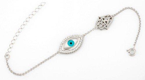 Evil Eye Mother of Pearl Hamsa Silver Bracelet
