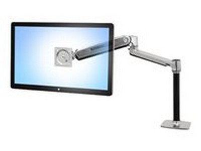 "Ergotron Lx Hd Sit-Stand Desk Mount Lcd Arm - Mounting Kit ( Pole, Vesa Adapter, Sit-Stand Arm, Desk Clamp Base, Grommet-Mount Base ) For Lcd Display - Aluminum - Polished Aluminum - Screen Size: Up To 46"" - Mounting Interface: 100 X 100 Mm, 75 X 75 Mm, 2"