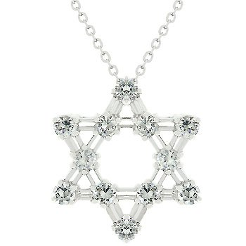 White Gold Rhodium Bonded over .925 Sterling Silver Star of David Pendant with Prong Set Round Cut Clear CZ in Silvertone