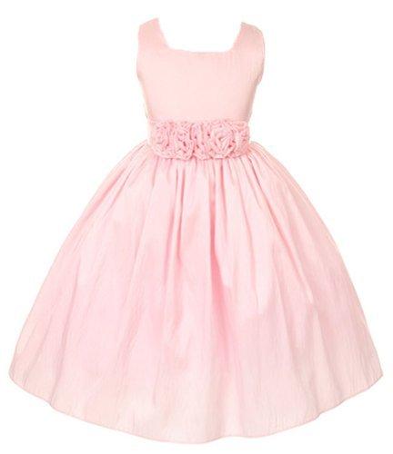 Sweet Kids Girls Slvless Dress Rolled Flw Waistband 6 Pink (Sk 3047)
