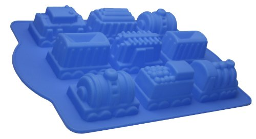 Better Value Birthday Holiday Silicone Train Cake Pan Cake Mould (Light Blue)
