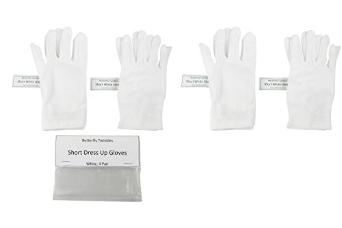 Girls-Tea-Party-Stretch-Polyester-Dress-Short-Gloves-Set-of-4-White-Childrens