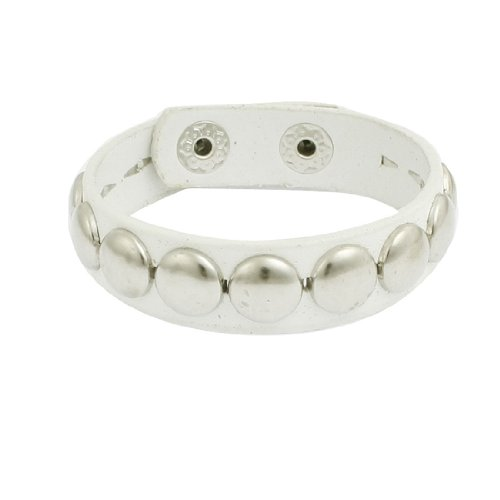 Rosallini Woman Man Studded Detail White Faux Leather Bangle Bracelet