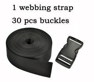 """Cosmos ® 1.5 Inch Wide 10 Yards Black Nylon Heavy Webbing Strap+30 PCS 1.5"""" Black Color Flat Shape Plastic Side Release Plastic Buckles with Cosmos Fastening Strap"""