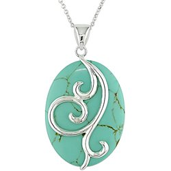 Sterling Silver Oval Turquoise Necklace