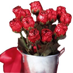 Sweetheart Chocolate Rose Candy Bouquet - 1 Dozen Red Chocolate Roses in a Gift Basket