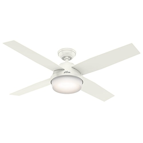 Hunter Fan Company 59252 Contemporary Dempsey Damp Fresh White Ceiling Fan With Light & Remote, 52