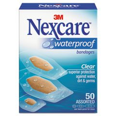 Nexcare Waterproof Clear Bandage Assorted Sizes, 50 Count Pa