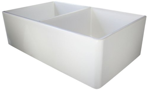 ALFI brand AB538 32-Inch  Smooth Double Bowl Fireclay Farmhouse Kitchen Sink, White