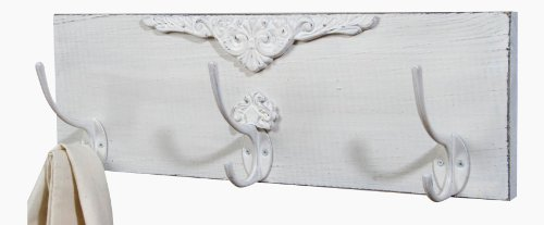 Shabby Chic White Distressed Wood 15 Inch Wall Triple Hooks front-5674