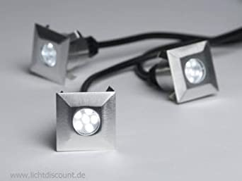 C Light Led Boden Strahler Einbaustrahler 3er Set 12 V Square