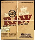 Raw Natural King Size Cigarette Rolling Papers (Box of 24 Packs with 40 Leaves Per Pack)