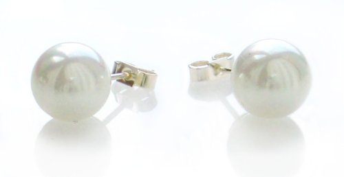 White Tahitian Shell Pearl 10mm Sterling Silver Stud Earrings