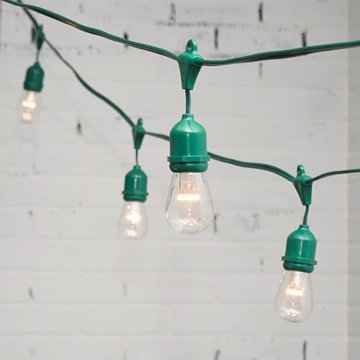 Commercial Led Edison Drop String Lights, 100 Ft Green Wire, S14, Warm White