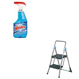 KITCSC11829GGBDRA90135EA - Value Kit - Cosco Commercial 2-Step Folding Stool (CSC11829GGB) and Windex Powerized Glass Cleaner with Ammonia-D (DRA90135EA)