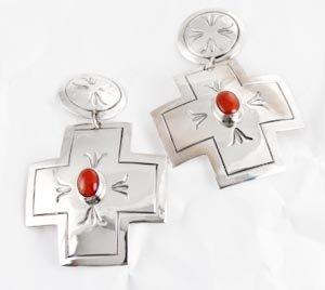 Vintage Navajo Coral Silver Cross Dangle Earrings By Delvin John