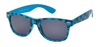 Sonnenbrille Nerdbrille retro Artikel 4026-17, blau schwarz mit smileys / schwarz