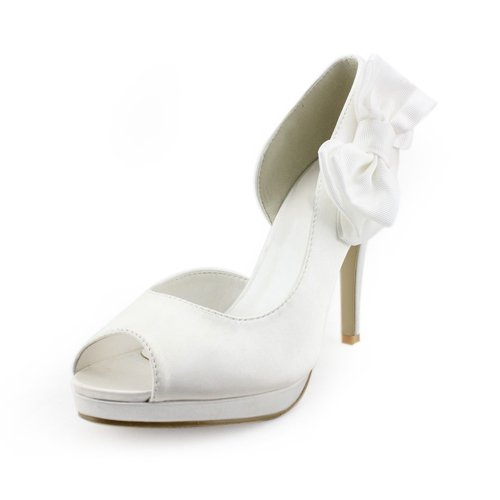 Women's Satin Upper Stiletto Heel Pumps With Satin Flower Wedding Bridal Shoes (Size: 8.5 B(M) US/White)