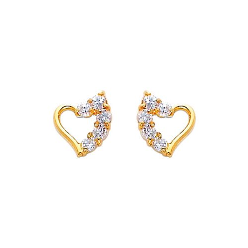 Journey Heart CZ 14K Yellow Gold Stud Earrings