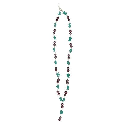 Apatite Chips Bead & Maroon Freshwater Pearl Necklace in Silver
